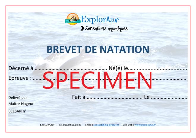 Brevet de natation piscine Côte d'Azur