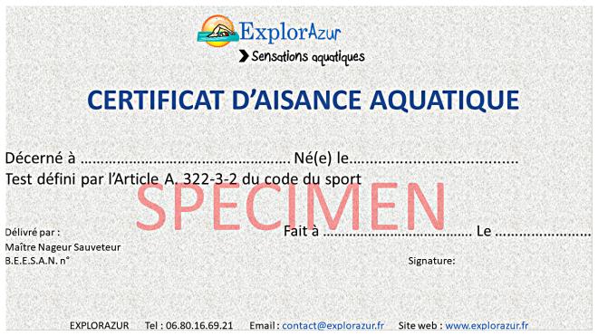 Certificat d'aisance aquatique domicile Nice Antibes Cannes Monaco